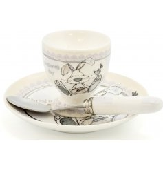 This beautifully finished ceramic baby gift set is a perfect little gift idea for any christening day