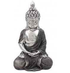A 28cm silver cermaic thai buddha