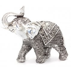 Add an exotic touch to your home displays with this rustic inspired resin elephant