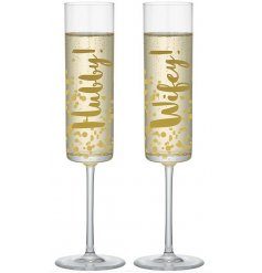 Get your party started with a glass of bubbly, perfectly presented in this stylish new line of glass flutes