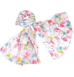 Pink Flamingo covered Cotton Scarf