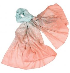 A dip dye cotton coral sea scarf