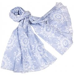 A Blue Moroccan Rose Cotton Scarf