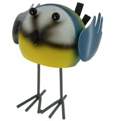 Add a fun touch to your garden with this metal bobbing blue tit