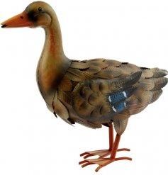 A hand painted female mallard duck garden figure