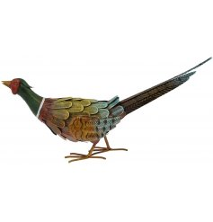 A hand painted metal pheasant garden decoration