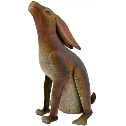 Hand painted metal gazing hare decoration