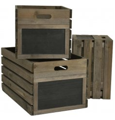 Add a chic touch to any display with this distressed set of 3 sized crates,