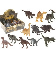 An assortment of 11 mixed dinosaur toys