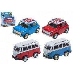 4 assorted 9cm camper vans and mini toys