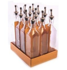 A 500ml glass condiment bottle with pouring spout