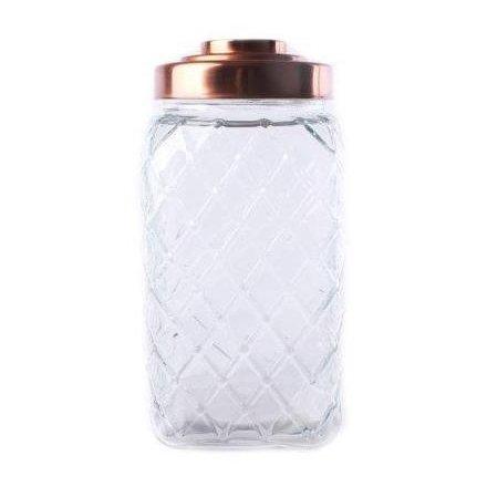Copper Lid Square Glass Jar