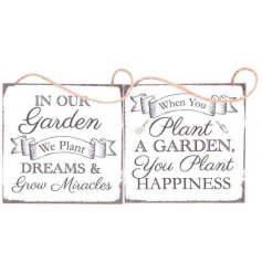 An assortment of 2 hanging plaques with garden related slogans