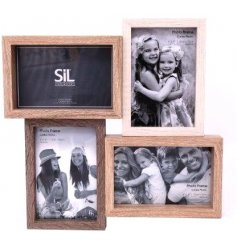 a four photo frame with multi shades of wood