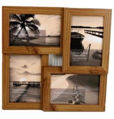 A wooden photo frame with space for 4 photos
