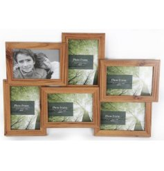 A wooden photo frame with space for 6 photos