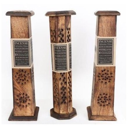 Wooden Incense Tower, 2 Assorted