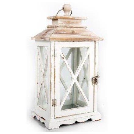 38cm White Washed Wooden Lantern