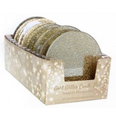 A 10cm gold glittery candle plate