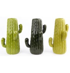 An assortment of 3 large ceramic cactus vases