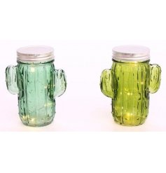 An assortment of 3 light up LED cactus jars