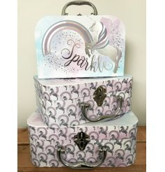 S/3 Unicorn Carry Cases  this stylish set of 3 assorted sized and script carry cases will look perfect in any princess t