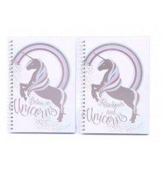 An assortment of 2 A5 pink unicorn notebooks