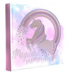 A pink themed unicorn photo album