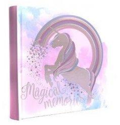 A pink themed unicorn photo album