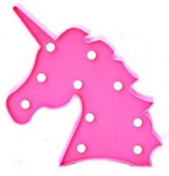 A light up LED decoration in the shape of a pink unicorn head