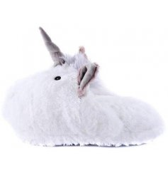 A pair of white unicorn slippers