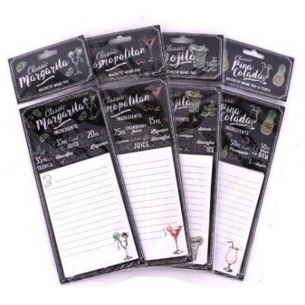 4 stylishly assorted cocktail themed hanging magnetic memo pads