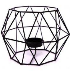 A Geometric Black Wire Tealight Holder