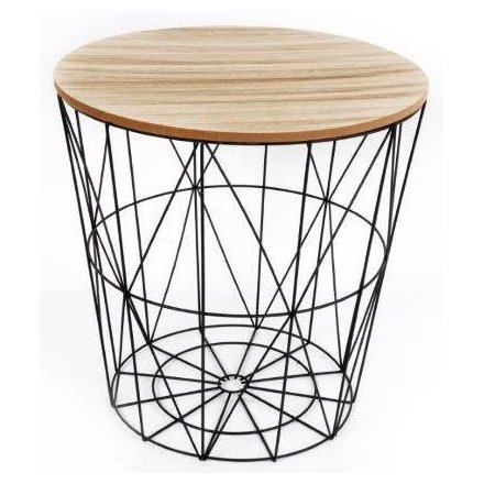 wf1928 geometric black wire circular side table 37356. Black Bedroom Furniture Sets. Home Design Ideas