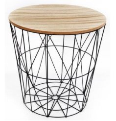 A geometric Black Wire Circular Side Table with wooden top