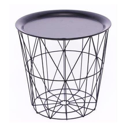 Black Geometric Wire Circular Table