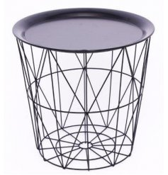 A Geometric Black Wire Circular Tray Table