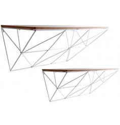 Pack of 2 white Geometric Wire Shelves