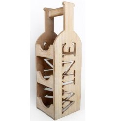 A wooden triple wine bottle holder