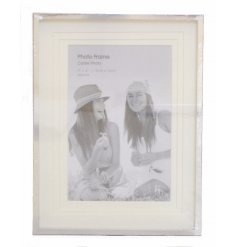 A 4x6 silver layered aperture photo frame