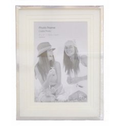 A 5x6 large silver photo frame with layered aperture
