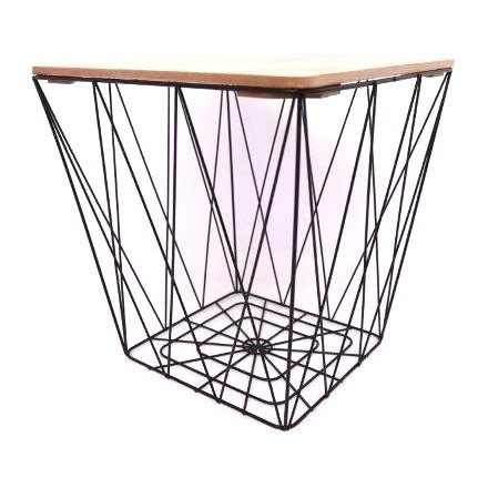Black Geometric Wire Square Table