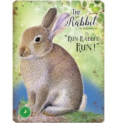 With its bright colours and script quotes, this rabbit themed metal sign is a must have