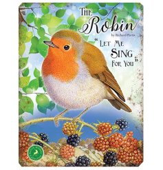 With its bright colours and script quotes, this Robin themed metal sign is a must have