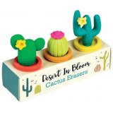 A box of 3 blooming cactus erasers