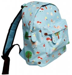 Woodland animals light blue mini children's backpack, perfect for school, picnics and hiking.