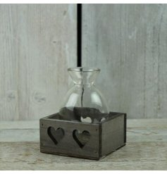 A beautifully finished wooden heart tray with fitted glass jars,