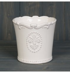 Bring an olden era inspired style to any garden space with this beautiful new line of ceramic glazed planters