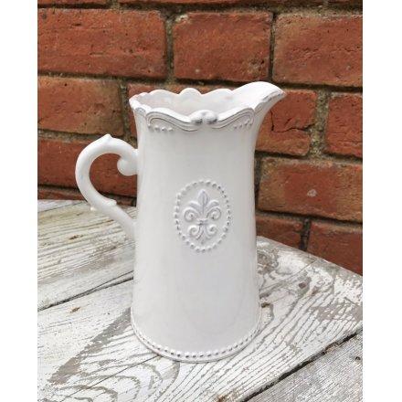 White Fleur De Lis Ceramic Jug 19cm