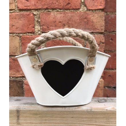 Cream Zinc Trough w Heart Blackboard 12.5cm